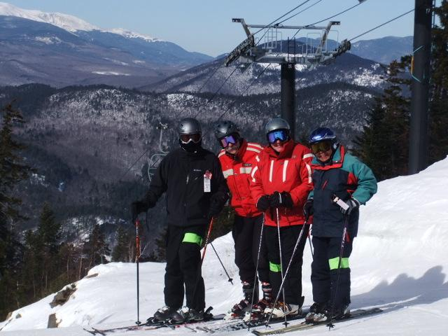 Skiers at top of Attitash, New Hampshire